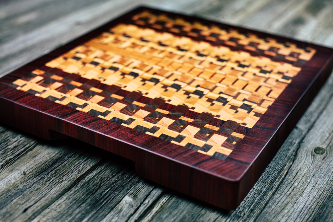 Kaleidoscope with Padauk Border #94 - Everwood endgrain, Cutting Boards - End grain butcher block cutting board, Everwood Handcrafts - Everwood Handcrafts