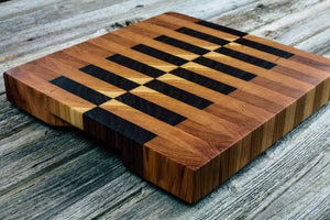 Walnut, Cherry and Hickory #116 - Everwood endgrain, Cutting Boards - End grain butcher block cutting board, Everwood Handcrafts - Everwood Handcrafts