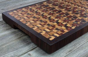 Kaleidoscope with Walnut Border #92 - Everwood endgrain, Cutting Boards - End grain butcher block cutting board, Everwood Handcrafts - Everwood Handcrafts