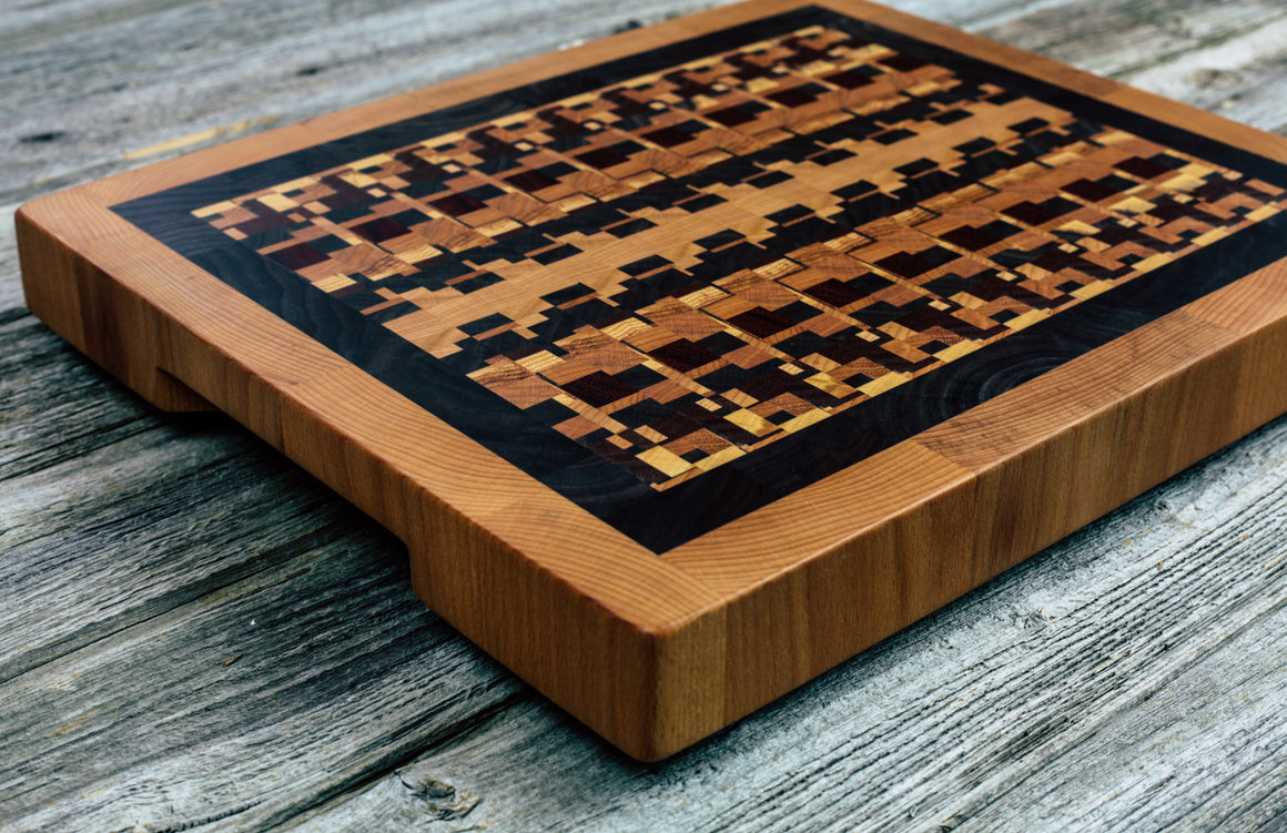 Kaleidoscope with Walnut and Beech Borders #93 - Everwood endgrain, Cutting Boards - End grain butcher block cutting board, Everwood Handcrafts - Everwood Handcrafts
