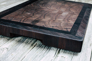 Black Walnut Center with Wenge and Peruvian Walnut Border #2 - Everwood endgrain, Cutting Boards - End grain butcher block cutting board, Everwood Handcrafts - Everwood Handcrafts