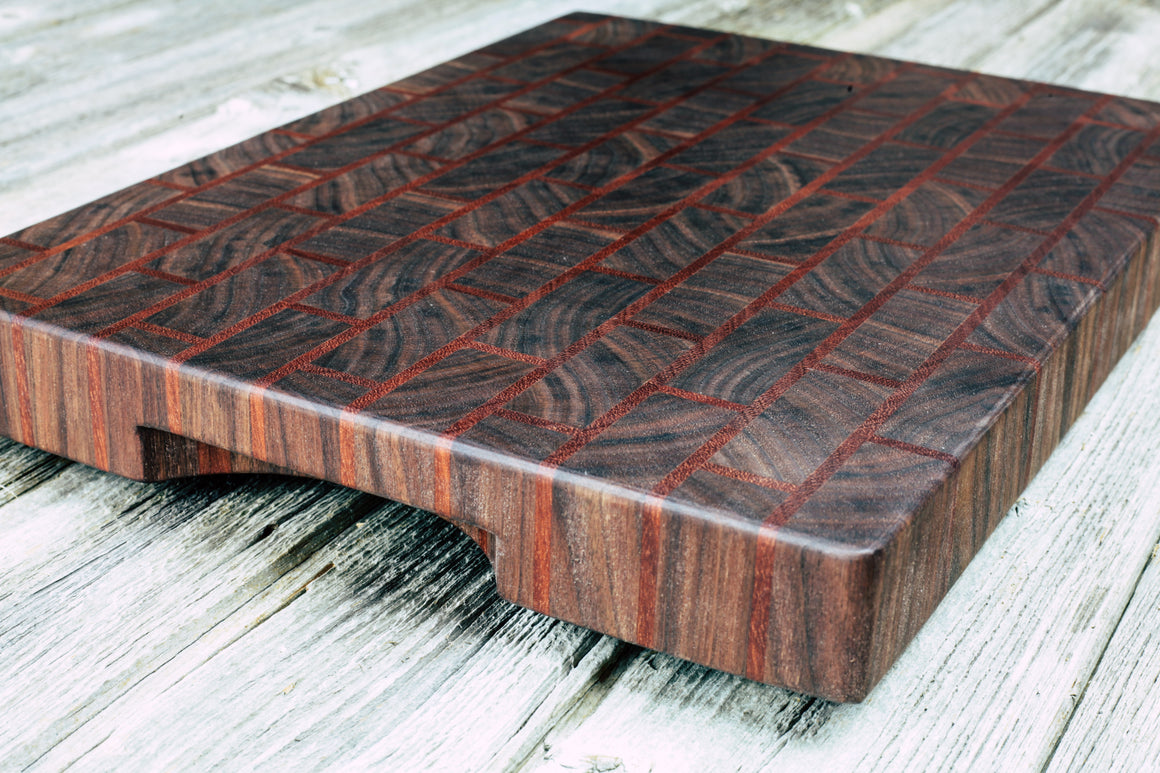 Makore and Walnut Brick Pattern #8 - Everwood endgrain, Cutting Boards - End grain butcher block cutting board, Everwood Handcrafts - Everwood Handcrafts