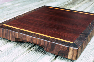 Makore with Maple and Black Walnut #103 - Everwood endgrain, Cutting Boards - End grain butcher block cutting board, Everwood Handcrafts - Everwood Handcrafts
