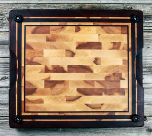 Maple Heartwood and Makore #31 - Everwood endgrain, Cutting Boards - End grain butcher block cutting board, Everwood Handcrafts - Everwood Handcrafts