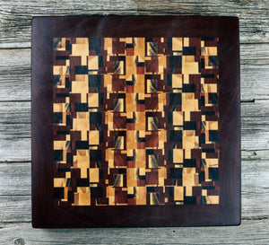 Kaleidoscope with Makore border. #97 - Everwood endgrain, Cutting Boards - End grain butcher block cutting board, Everwood Handcrafts - Everwood Handcrafts