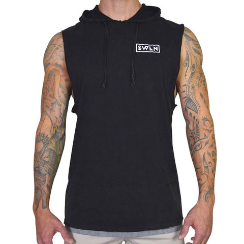 SWLN Retrograde Sleeveless Hood | Charcoal Muscle Tee