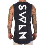 SWLN Distressed | Black Acid Wash Muscle Tee