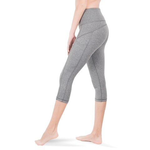 CAPRI • HEATHER GREY • 3-POCKET YOGA PANTS
