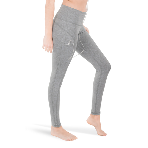 LEGGINGS • HEATHER GREY • 3-POCKET YOGA PANTS