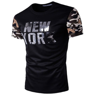 Mens T Shirt Camouflage New York Print O-Neck Punk