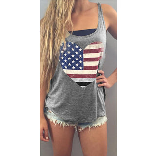 USA Flag T-Shirt Sleeveless Tank Crop Tops