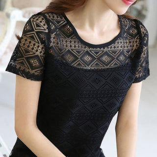 Summer Women Elegant Lace Blouse Chiffon Short Sleeve