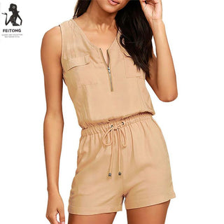 Fashion Short Jumpsuit Women Zipper Playsuit