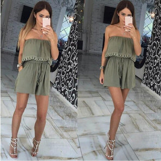 Elegant Female Playsuit Strapless Off Shorts