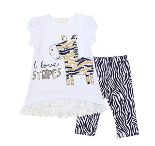 kids zebra lace shirts legging set
