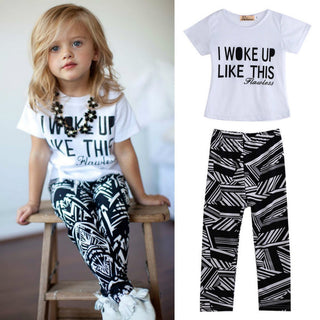 Cute Kid Girls T-shirt Tops Zebra Legging Sets