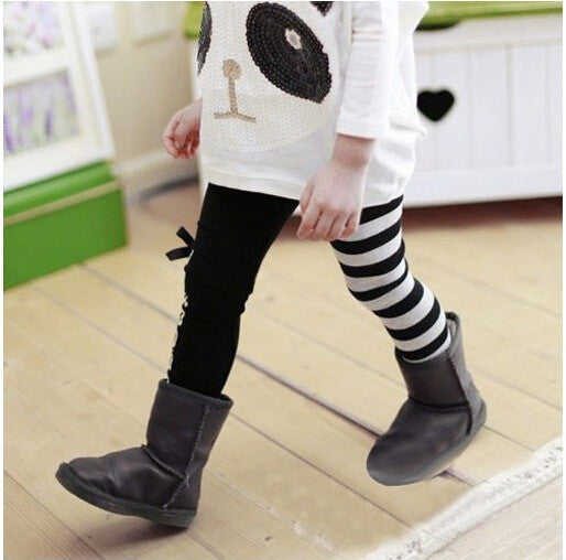 Sweet Girls Classical Zebra Bow Skinny Pants