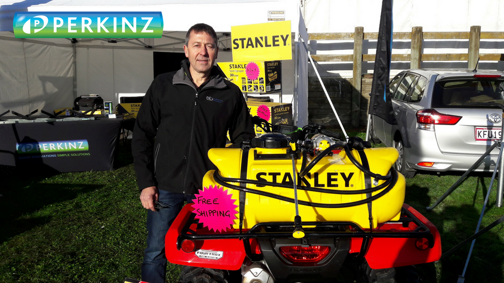 Load image into Gallery viewer, A 60 litre Stanley 12 volt Spot & Broadcast Sprayer on a Honda quad bike
