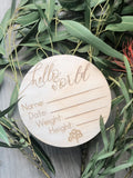 "Wooden ""hello world"" birth announcement disc - Australiana"