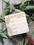 "Wooden ""Welcome little one' birth announcement disc - Boho"