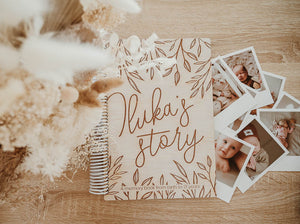 YOUR STORY - A baby memory book - CUSTOM NAME ON COVER