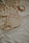 Wooden 'Welcome to the world' birth announcement disc - Whimsical