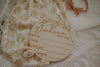 Wooden 'Welcome little one' birth announcement disc - Whimsical