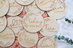 Wooden month milestone card discs - Whimsical
