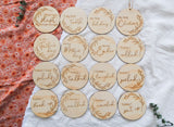 Wooden achievement milestone card discs - Whimsical