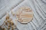 Wooden 'Welcome to the world' birth announcement disc - Classic