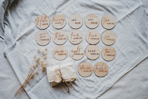 Wooden month milestone card discs - Classic
