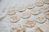 Wooden achievement milestone card discs - Classic