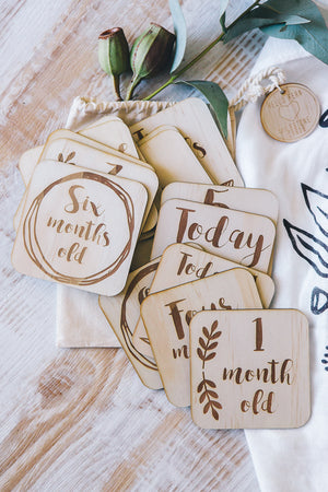 Wooden month milestone cards - Boho