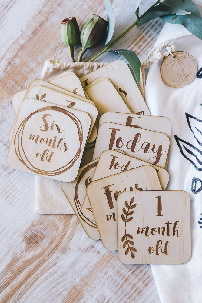 Wooden Month Milestone Cards Boho