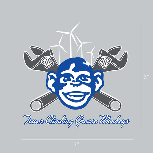 Tower Climbing Grease Monkey Sticker