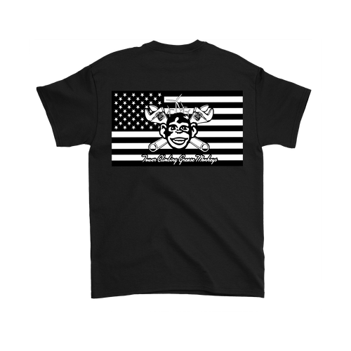 American Grease Monkey T Shirt (B&W) 5.3 oz