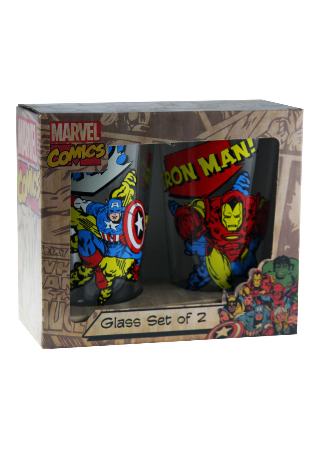 CAPTAIN AMERICA & IRON MAN 2PC GLASS SET