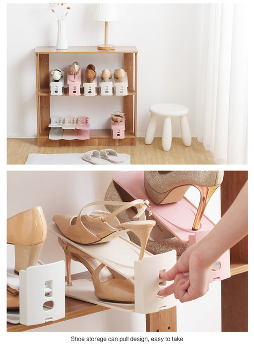 Adjustable Space Saving Shoe Stack Holder 8pcs
