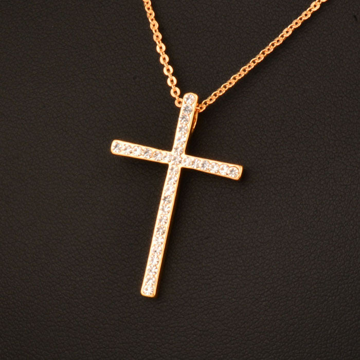 Rhinestone Cross Necklace Chain