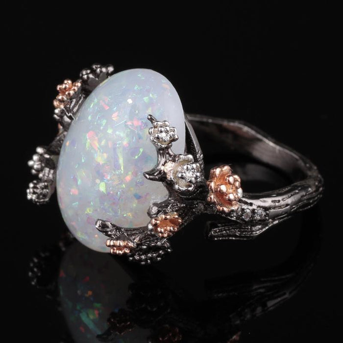 Mystical Tree Opal Black Gold Ring