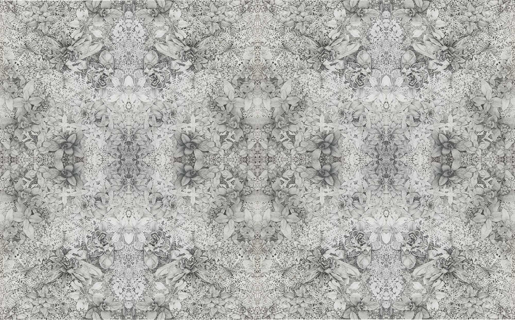 Graphite garden vellum wallpaper designed by artist Claire Burbridge