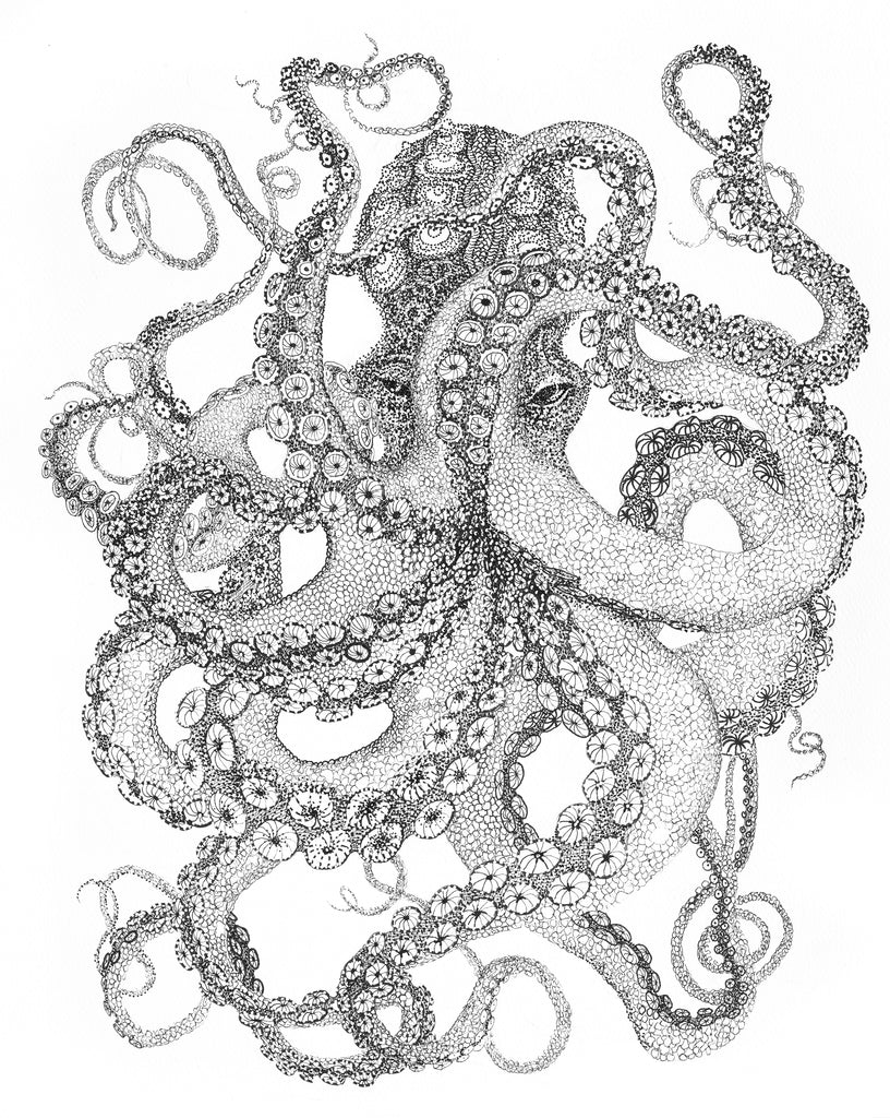 A pointillist rendition of a giant octopus by artist Claire Burbridge