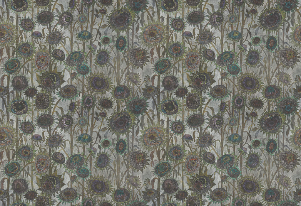 Sunflower ' Seed Heads' hand drawn luxury wallpaper design by artist Claire burbridge