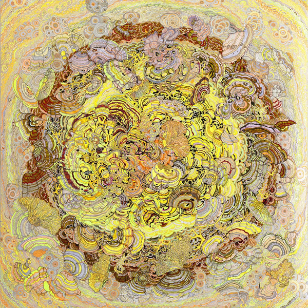 Artist Claire Burbridge's fine art print, A Flash of Consciousness Illuminates the Polypore World, reproduced form her pen and ink drawing