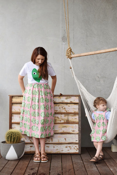 Womens skirt - Cabbage, Seersucker and Green gingham