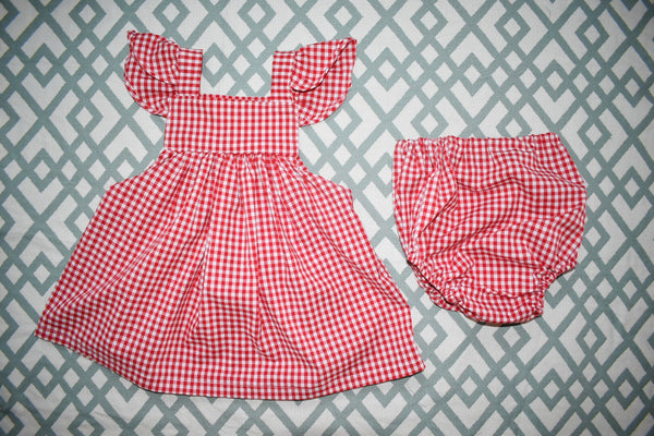 Red Gingham Frill Sleeve Dress