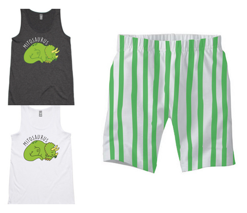 PJ Set: Women's Mitosaurus Singlet and Green Shorts