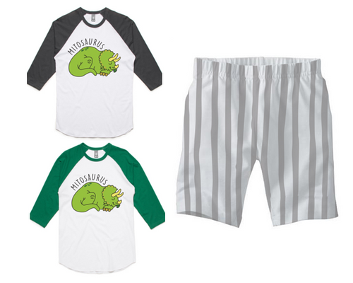 PJ Set: Adult's Mitosaurus Raglan and Grey Shorts