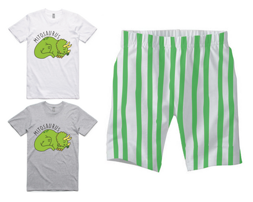 PJ Set: Adult's Mitosaurus Tee and Green Shorts