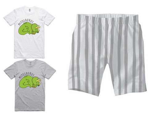 PJ Set: Adult's Mitosaurus Tee and Grey Shorts